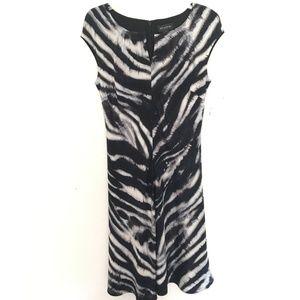 Silk Blend St. John Dress Cap Sleeve Zebra Print
